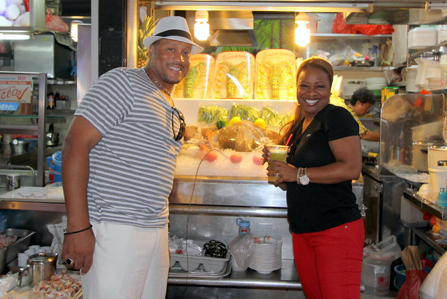 Pat & Gina Neely in front of seafood stall