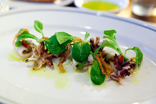 Squid salad with yogurt, mint, chili