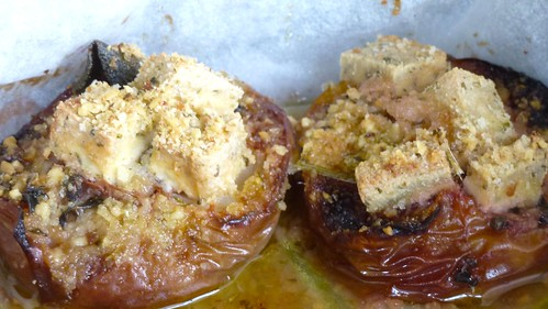 Grilled Peaches with Tofu - Pesche al forno con Tofu