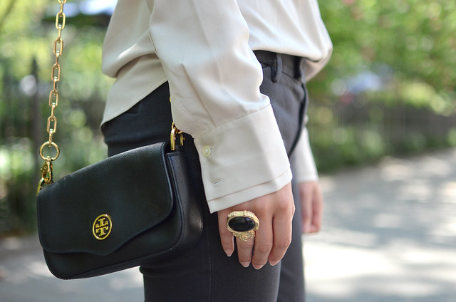 Tory Burch Robinson black mini bag with gold chain