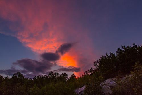 trees sunset ontario canada clouds sudbury coniston lakelaurentain