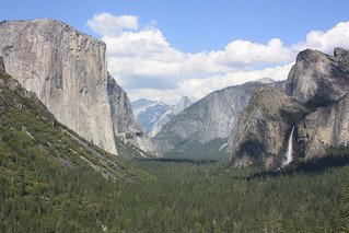 Yosemite National Park, El Capitan, Half Dome, and Bridalveil Fall, from Tunnel View
