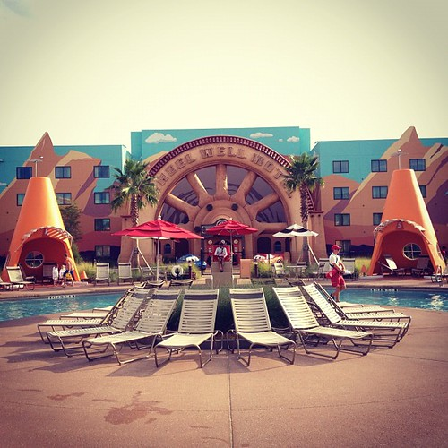 """Cars"" wing at Disney's Art of Animation Resort.  #TooCoolForDrivingSchool"