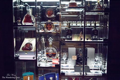 The display case of rare and aged fine spirits
