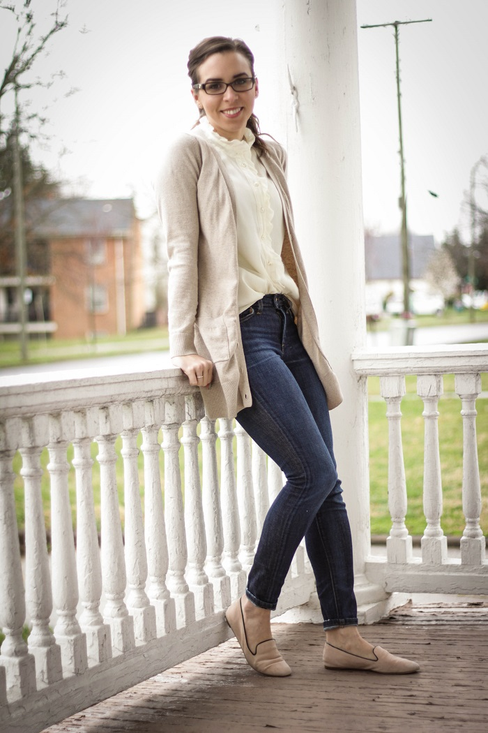va darling. dc blogger. virginia personal style blogger. blogger. fashion blogger style blogger. joes jeans. long cardigan. silk cream top. nude jcrew flats. 5