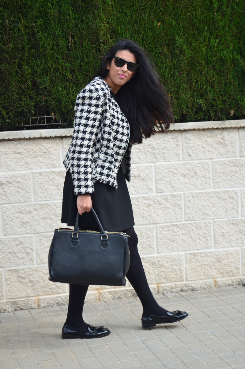 florenciablog tweedjacket estampado pata de gallo little black dress LBD mocasines zara (7)