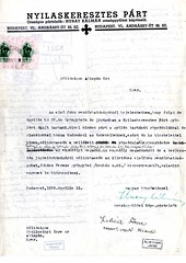 II/6. A Nyilaskeresztes Párt gyűlését hirdető röpiratok terjesztésének engedélyezését kérik 1939. április 15-én kelt levélben Gyöngyös város és Gyöngyös járás területén. Röpirat nélkül.