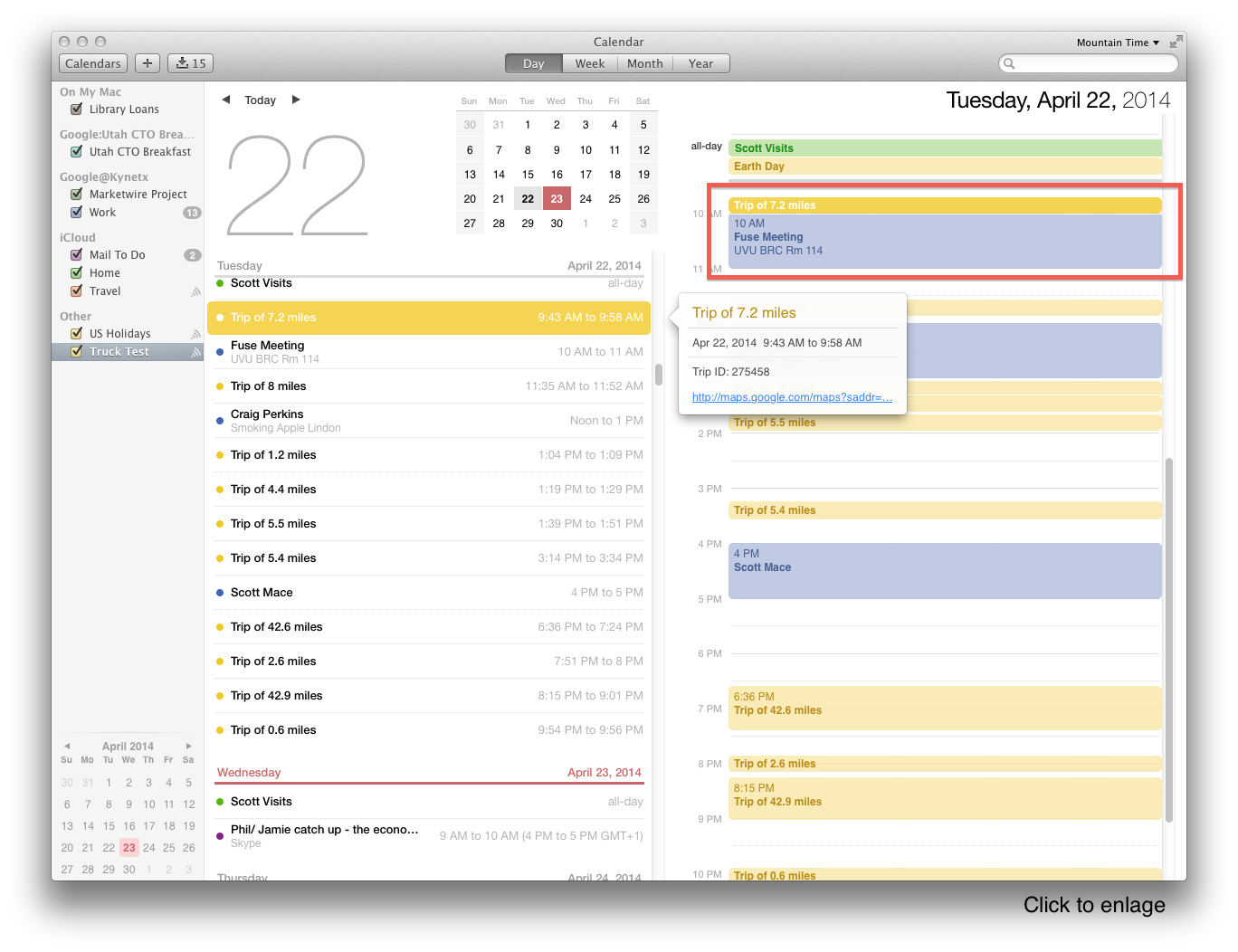 Trips on my calendar