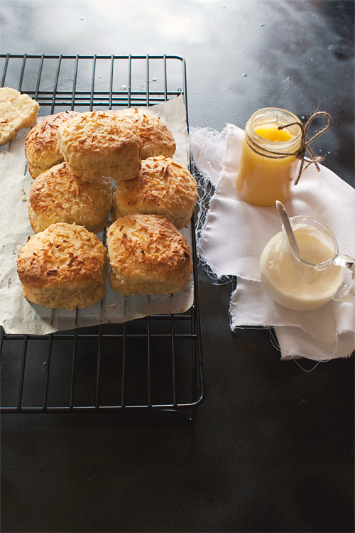 Coconut Scones + Malibu Cream + Lime Curd