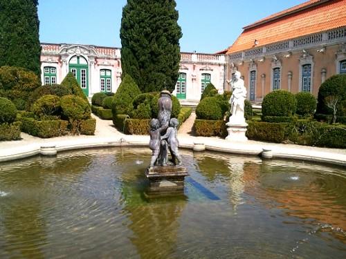 Fountain in garden at Queluz Palace Lisbon