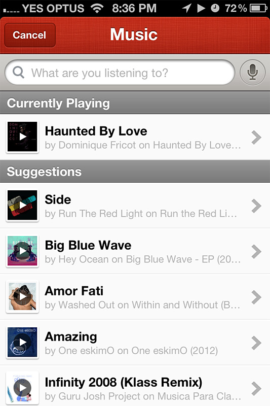 Checking in music that you're listening to, on Path.