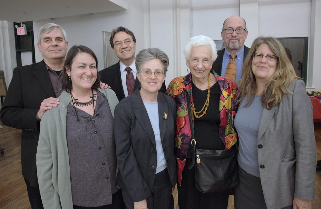 Guests at the lecture, from left: Harold Montanari, Sara Rubia, William Cunnigham, Alfreda Radzicki, Marianne Goldsmith, John Clever, and Andrea Boyar.