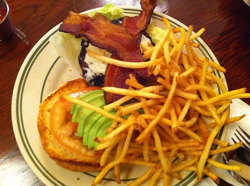 Bacon Avo Burger with fries!