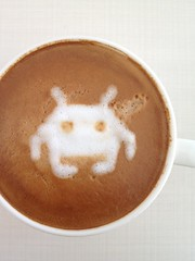 Today's latte, Space Invaders.