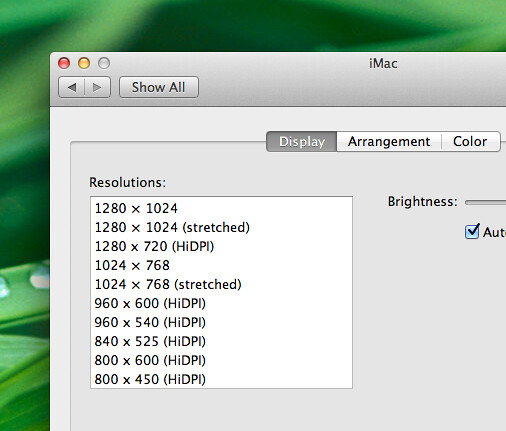 "Some HiDPI resolution options for a 27"" iMac"