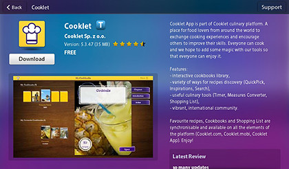 The free Cooklet app can be found in App World on the BlackBerry PlayBook.