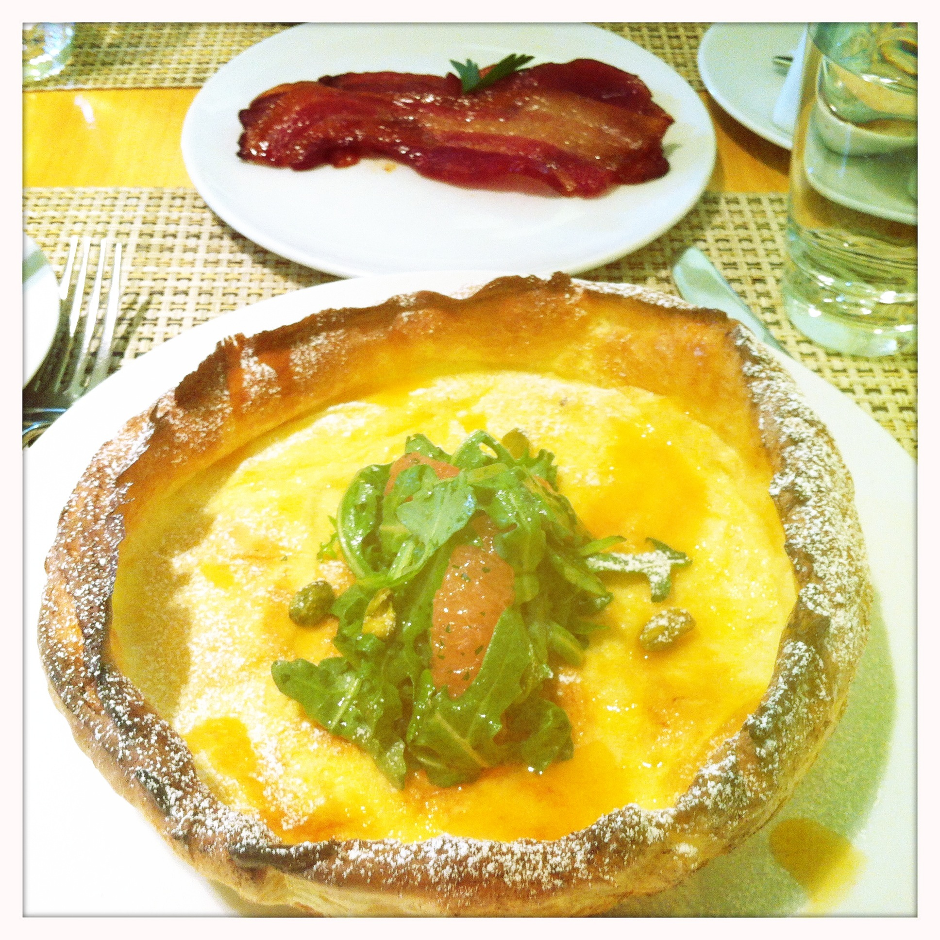Dutch Baby with Arugula and Grapefruit + Homemade Bacon