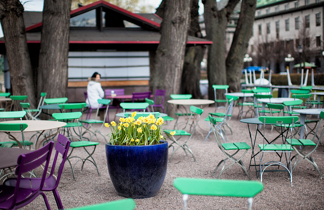 Café with green and lilac chairs