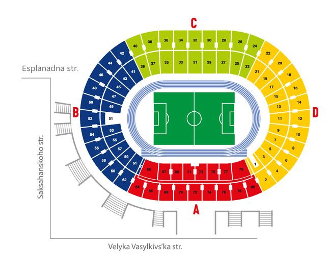 Mappa suddivisione settori Stadio Olimpico Kiev