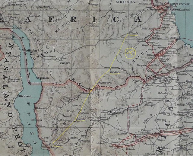Map showing 1-4KAR route from Mtonia.  X marks the area of the two actions