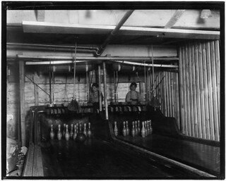 Bowling Alleys, connected with Geo P. Grays, Bastable Cafe. About 8 very small boys employed here. Work until midnight. Photo taken at 11:30 P.M., February 1910