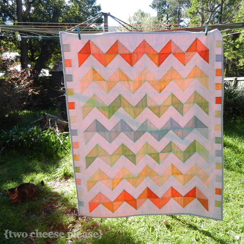 Zig Zag quilt hanging on a clothesline