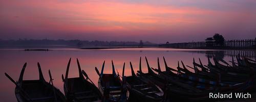 morning bridge sunrise boats dawn boat dusk burma silhouettes u myanmar birma mandalay bei amarapura birmanie birmania