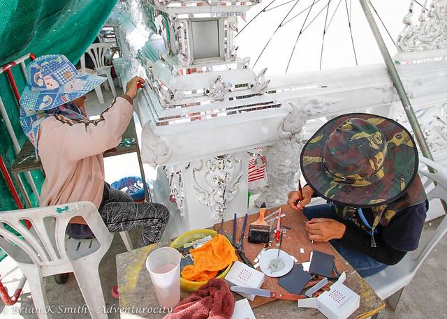 Wat Rong Khun Artisans Decorating a Balustrade, Chiang Rai
