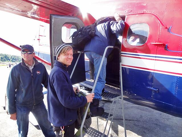 Boarding flightseeing plane