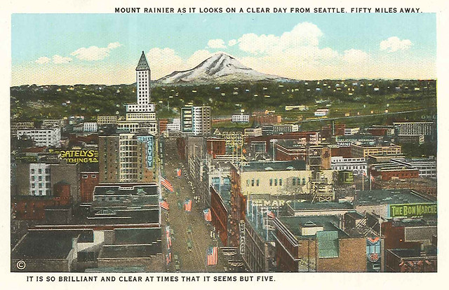 Downtown and Mt. Rainier, circa 1920s