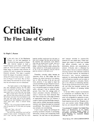Criticality A Fine Line of Control