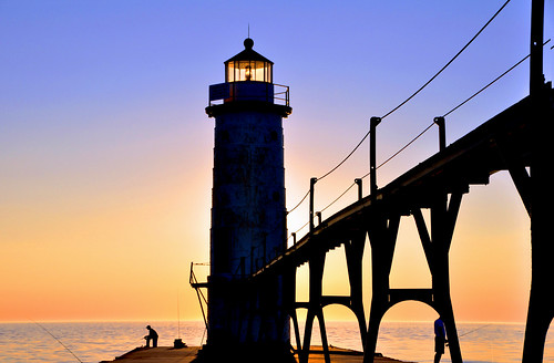 Manistee Lighthouse: Fishing  at Sunset