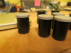 Wrapping clear canisters in black duct tape