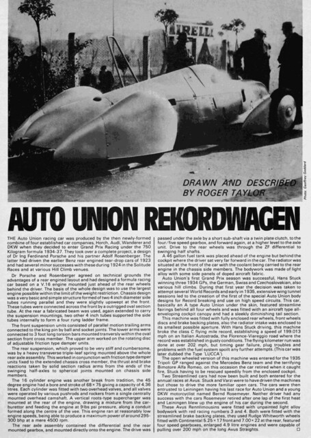 1935 Auto Union Rekordwagen article by Roger Taylor