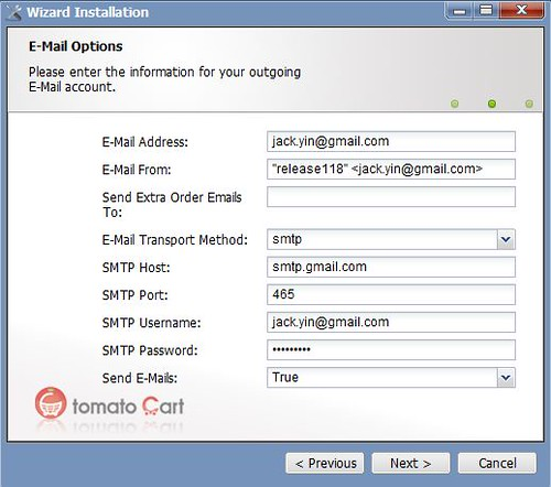 How to Configure the Email Options in TomatoCart | Arvixe Blog