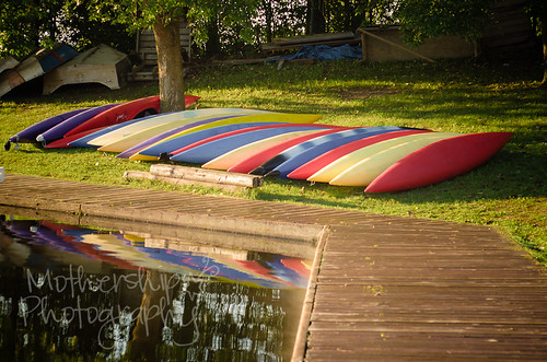 Kayaks at sunrise