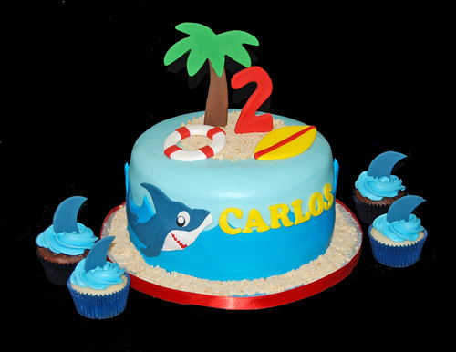 2nd birthday shark themed cake and cupcakes