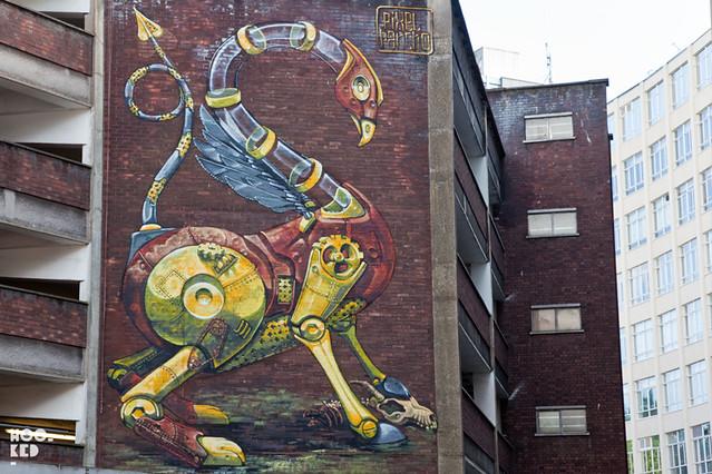 Street Art Mural in Bristol by Italian street artist Pixel Pancho