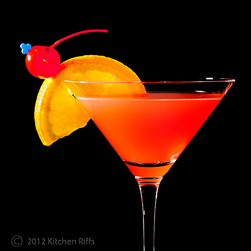 Ward Eight Cocktail in Cocktail Glass with Orange Slice and Maraschino Cherry Garnish