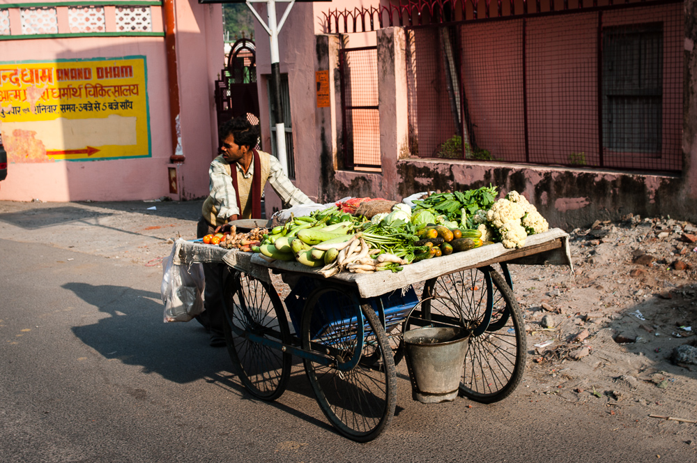 Selling vegetables on the wheel in India