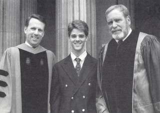 Pomona College President Peter Stanley; ASPC President Paul Fairchild '93; and Alumni Council president David Liggett at Little Bridges following Opening Convocation in 1991