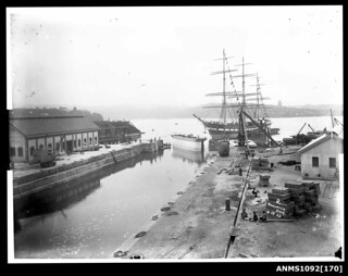 Three-masted ship at the entrance to Woolwich Dock, Sydney Harbour