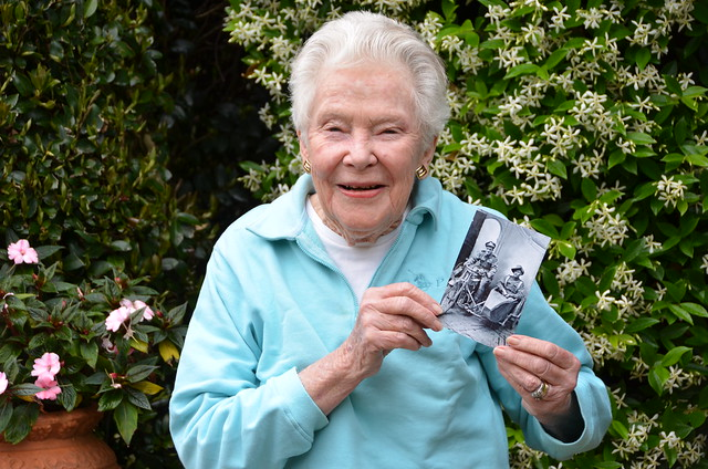Noreen Powell with the 'Lost Diggers' photo of her uncle, Sid Carroll