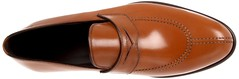 cognac(0.0), orange(0.0), maroon(0.0), horse tack(0.0), limb(0.0), outdoor shoe(1.0), brown(1.0), footwear(1.0), shoe(1.0), leather(1.0), tan(1.0), slip-on shoe(1.0),