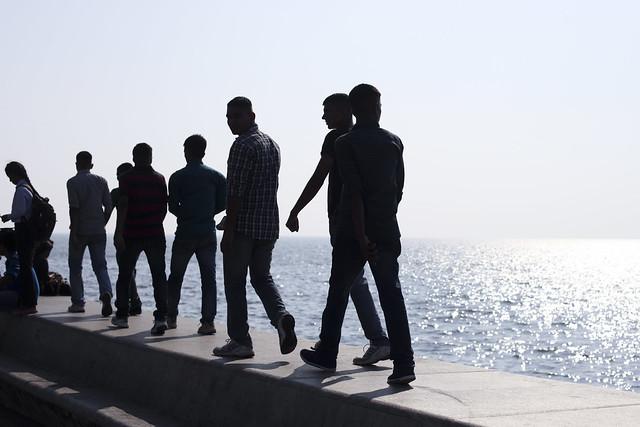 Bombay men shadows on Marine Drive