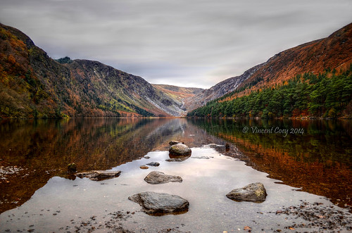 county autumn trees ireland lake mountains water reflections photography nikon rocks stones vincent lakes hills glendalough upper wicklow laragh coey d5100
