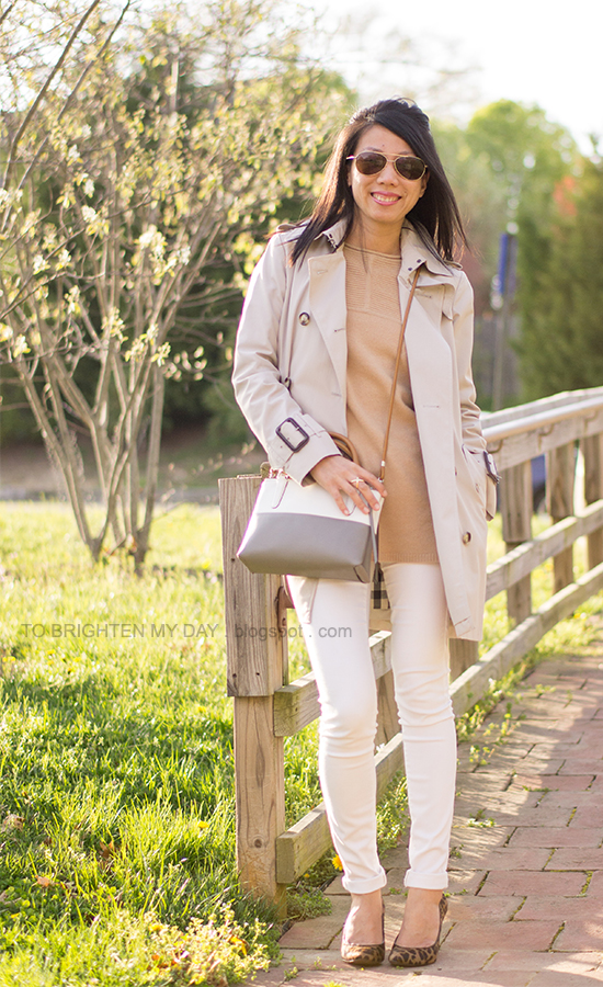 trench coat, camel sweater, white jeans, leopard pumps