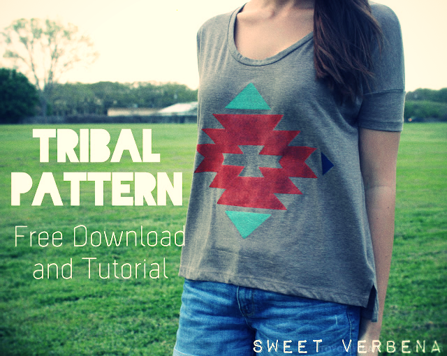 DIY print a tribal patterned t-shirt Sweet Verdana.jpg_effected