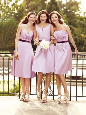 Pink Tea Length Strapless Off Shoulder Bridesmaid Dress