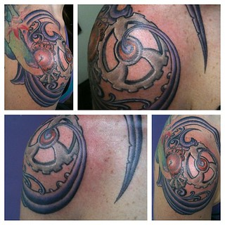 Progress on wifey's shoulder. More to come, and the other side of course... :) #loveofmylife #steampunkshoulder #tattoo #heroesandghoststattoo #richmond #virginia